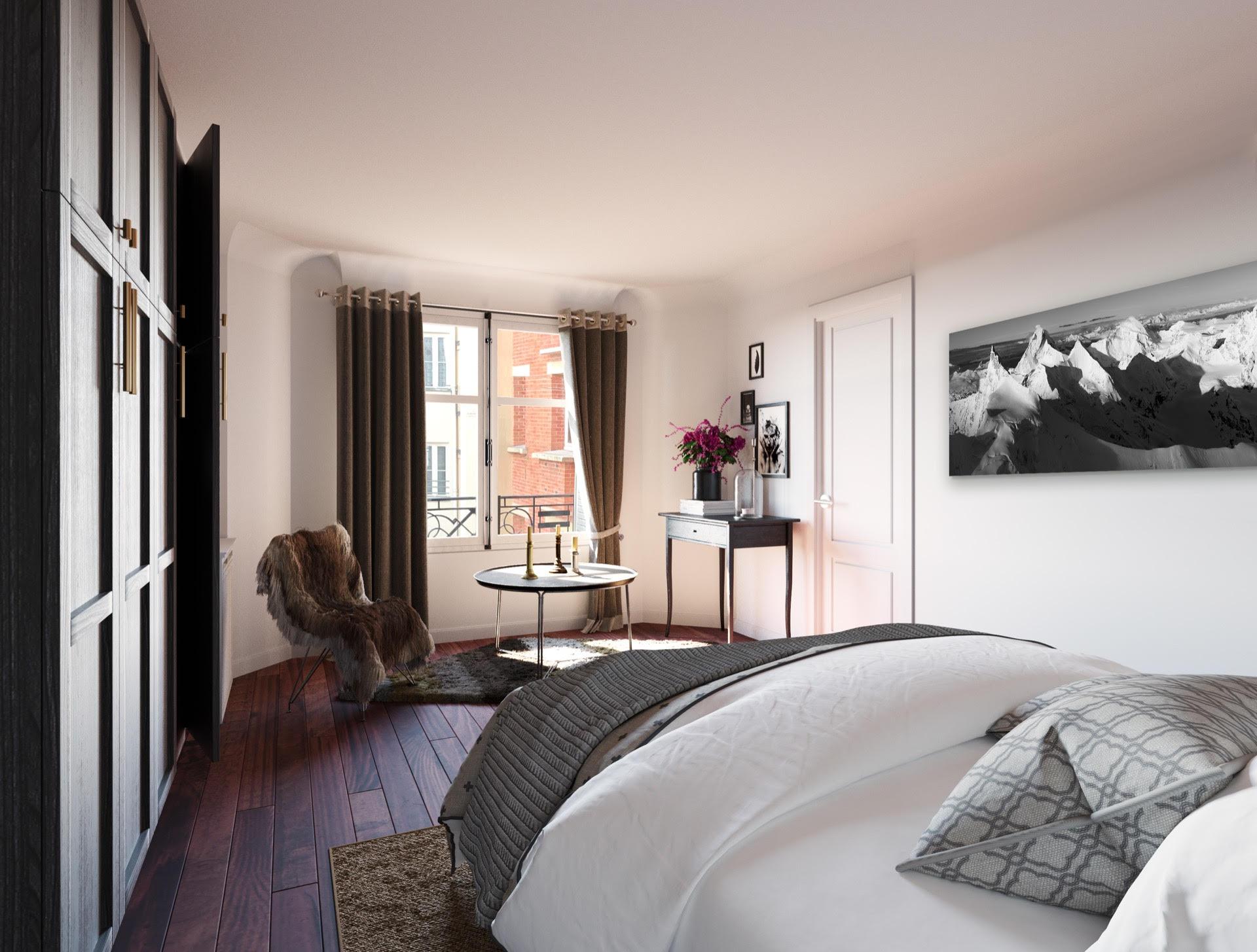 Cadre photo de montagne dans son appartement en ville
