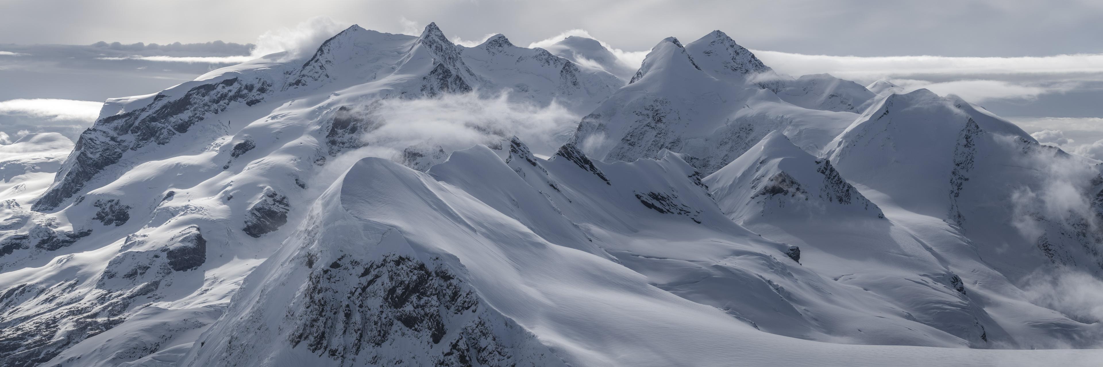Massif du mont rose Monte Rosa - poster panoramique montagne noir et blanc - Breithorn, Castor, Pollux et Lyskamm