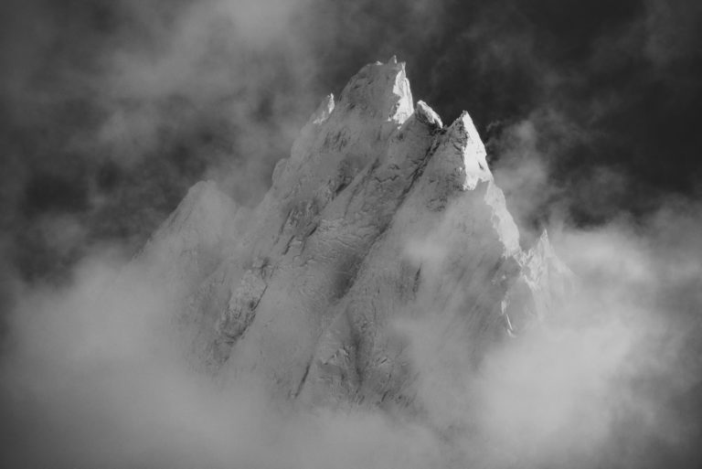 Photo from summit mountain - Aiguille de Blaitière - black and white