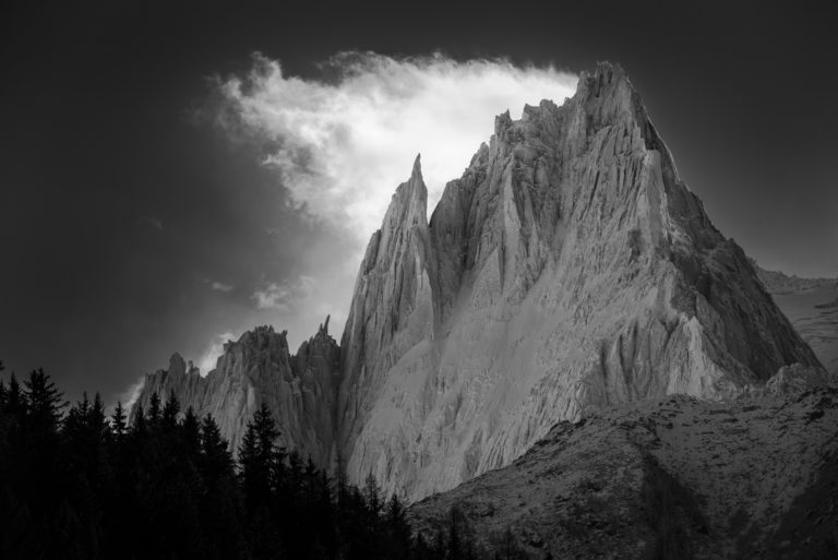 Chamonix aiguilles of Midi- Black and White Mountain photo
