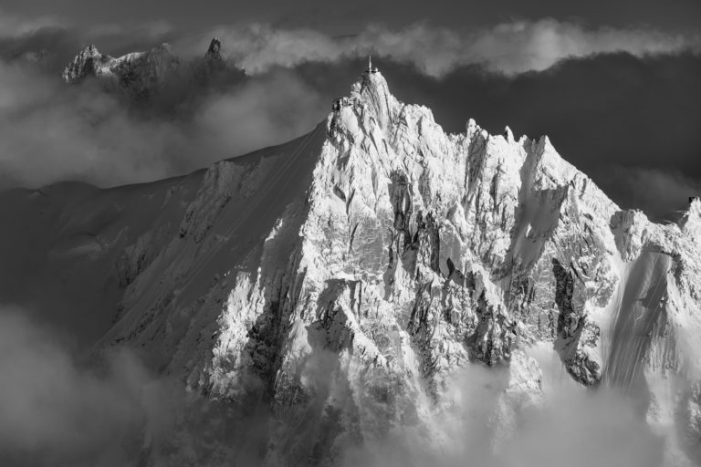 Black and white mountain pictures aiguille du midi