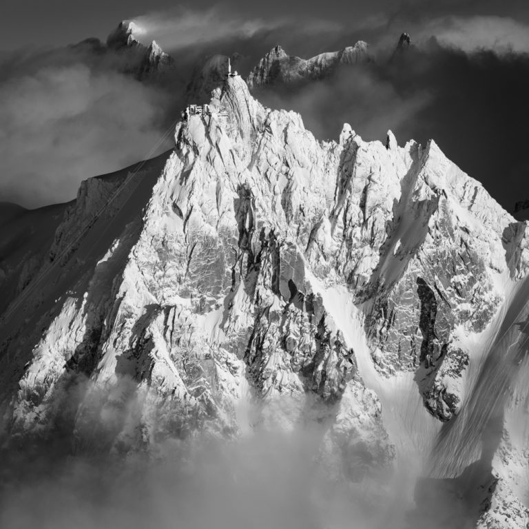 Black and white image of a mountain landscape - Pic de montagne and summit rocky mountain in the Alps - Aiguille du Midi - Grandes Jorasses