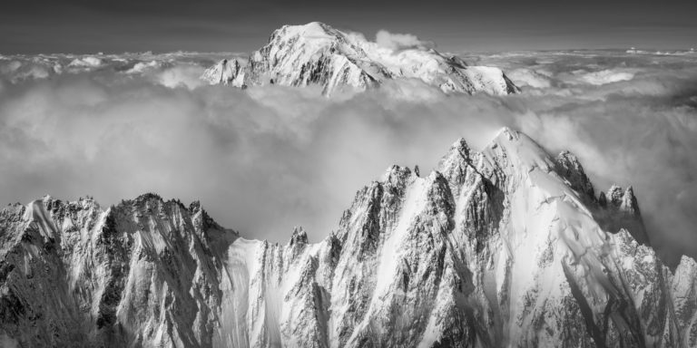 Aiguille Verte and Mont-Blanc - Chamonix panoramic mont blanc - normal route in black and white