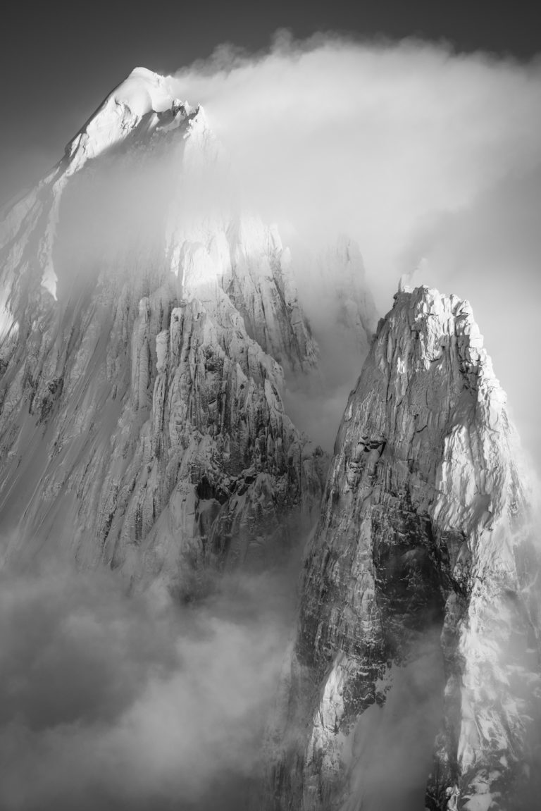 black and white image les drus chamonix