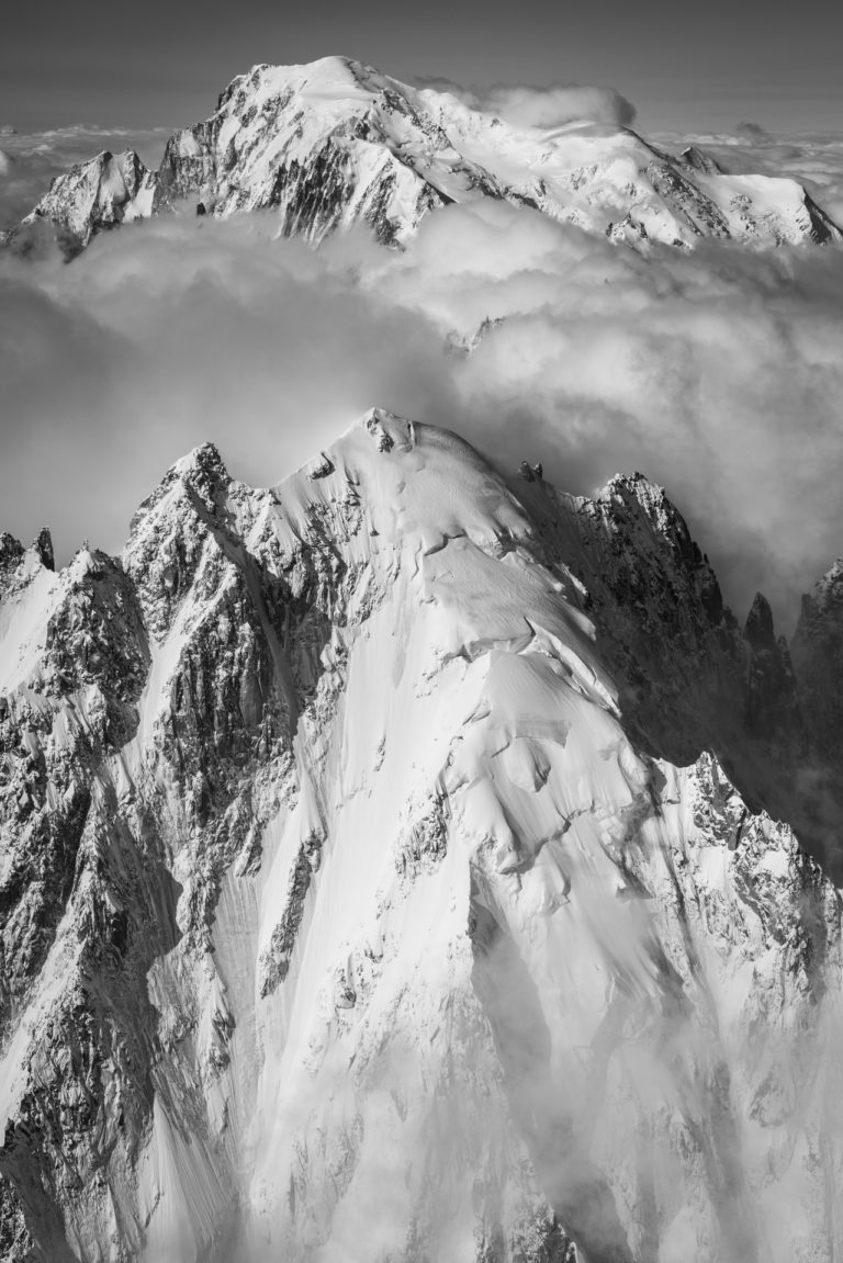 Aiguille verte Chamonix - Vertical Mont Blanc in black and white panoramic mountain view