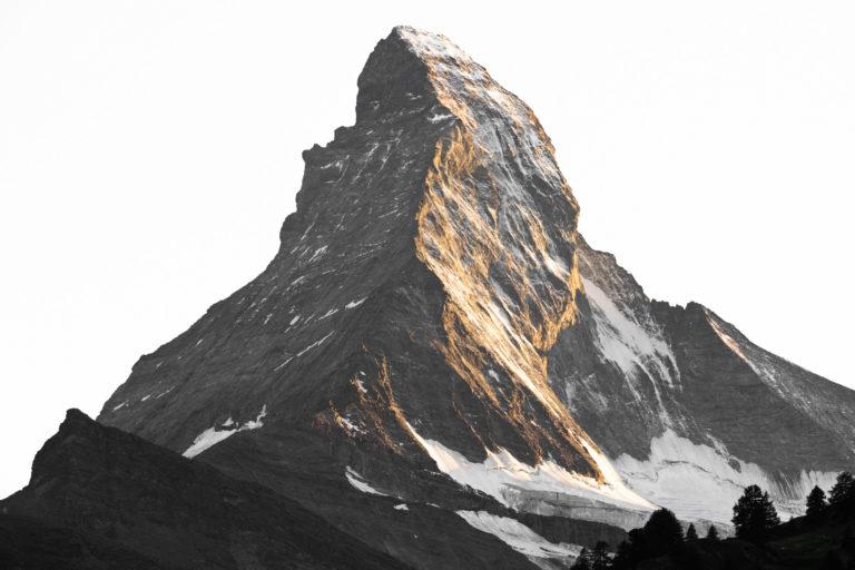 Mont cervin face nord - Coucher de soleil montagne