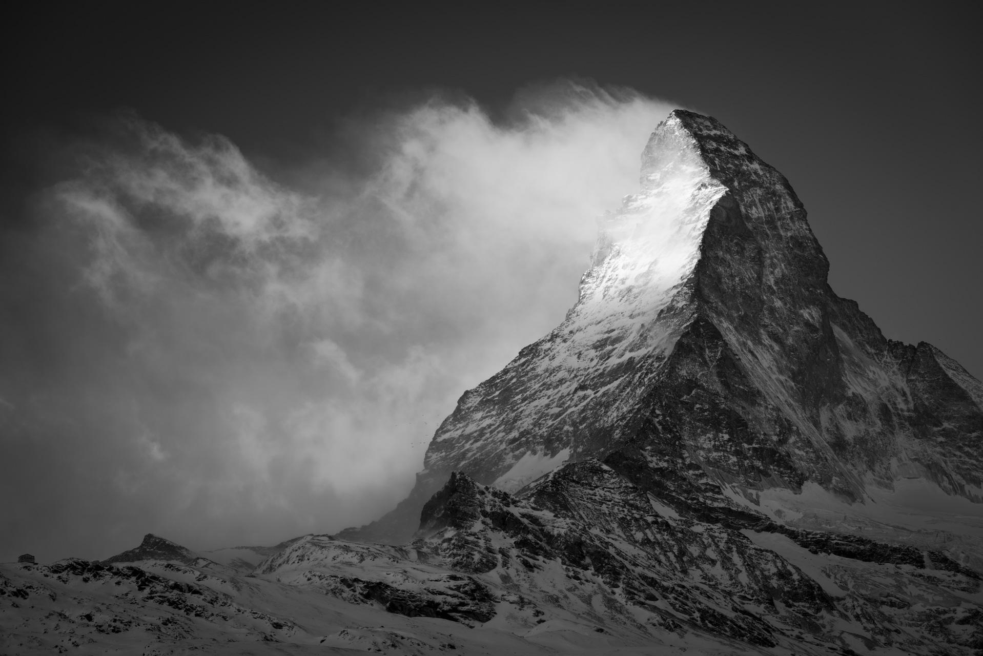 Photo Cervin dans les nuages des Alpes Valaisannes de Zermatt