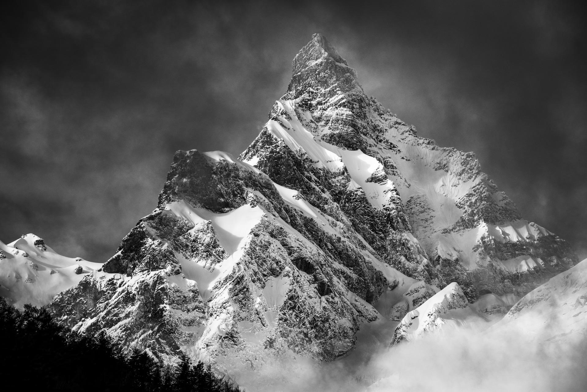 Photo photo de montagne en noir et blanc Alpes - Photo montagne neige