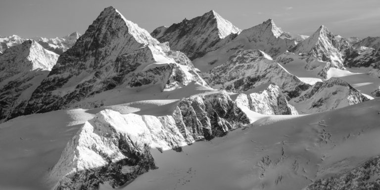 Black and white mountain and snow photo - Photo print to frame in panoramic view- The Dent Blanche - Weisshorn - Zinalrothorn - The Obergabelhorn
