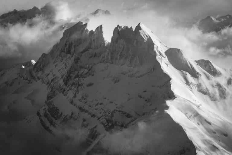 photo noir et blanc - dents du midi - Avoriaz