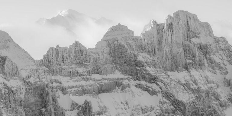 Photo Panoramique du mont blanc Dents du midi en noir et blanc - mont blanc photos