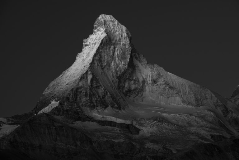 Mont Cervin - Photo du Cervin noir et blanc - Matterhorn photos vu du Trift