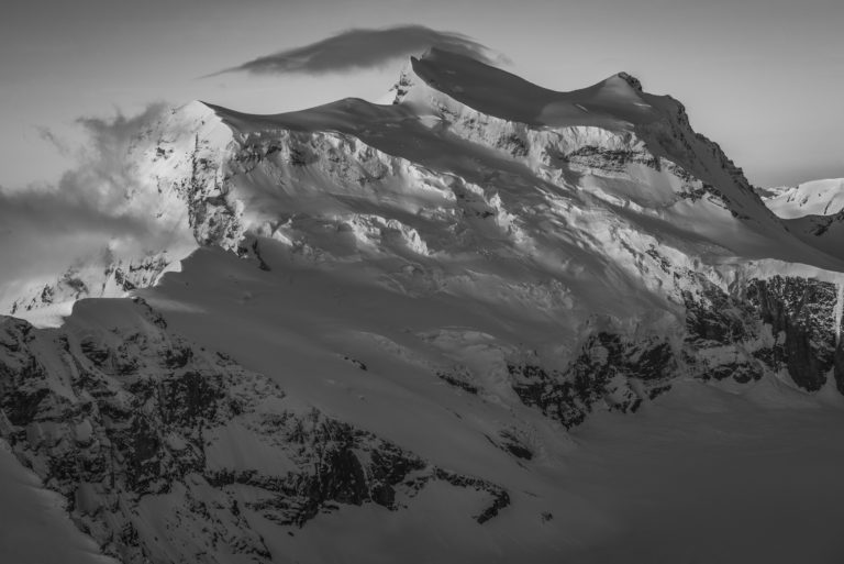 Mountain photo in Verbier Switzerland - black and white picture of snow-covered mountains
