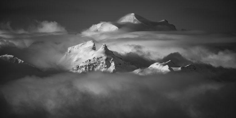 Montagne panorama - Photo noire et blanc à encadrer du-Grand Combin - Le Pleureur - La Sâle