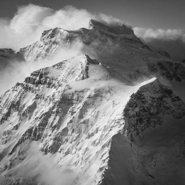 photo montagne Verbier - Grand Combin noir et blanc