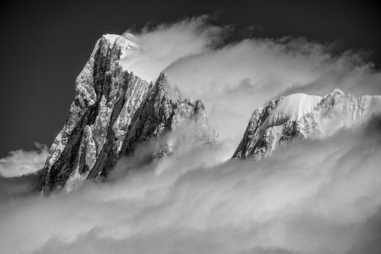 Photo du mont blanc - Massif du Mont-Blanc noir et blanc - Grandes Jorasses et Calote Rochefort