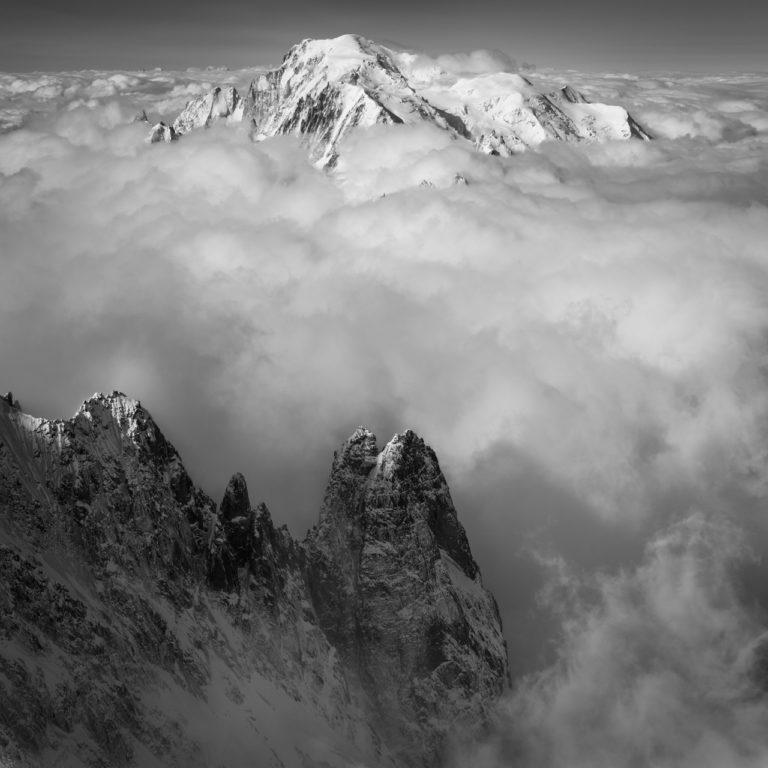 Les Drus et photos du Massif du Mont-Blanc - tableau photo noir et blanc montagne