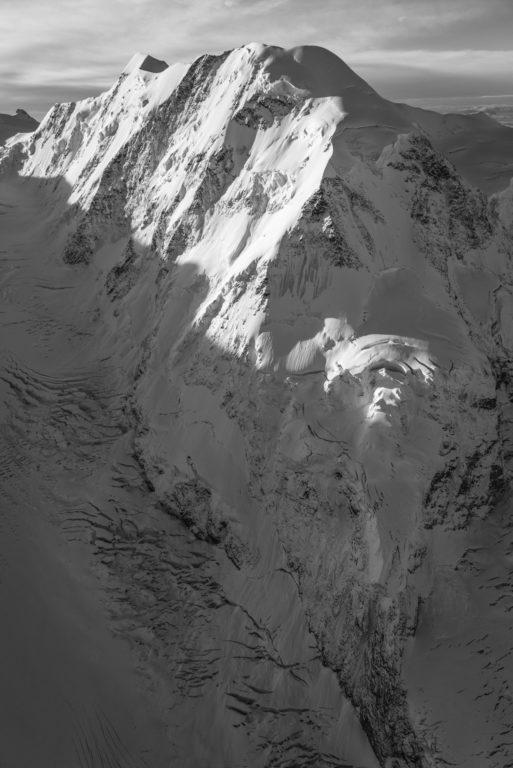 Lyskamm - Mont Rose noir et blanc - tableau photo paysage montagne