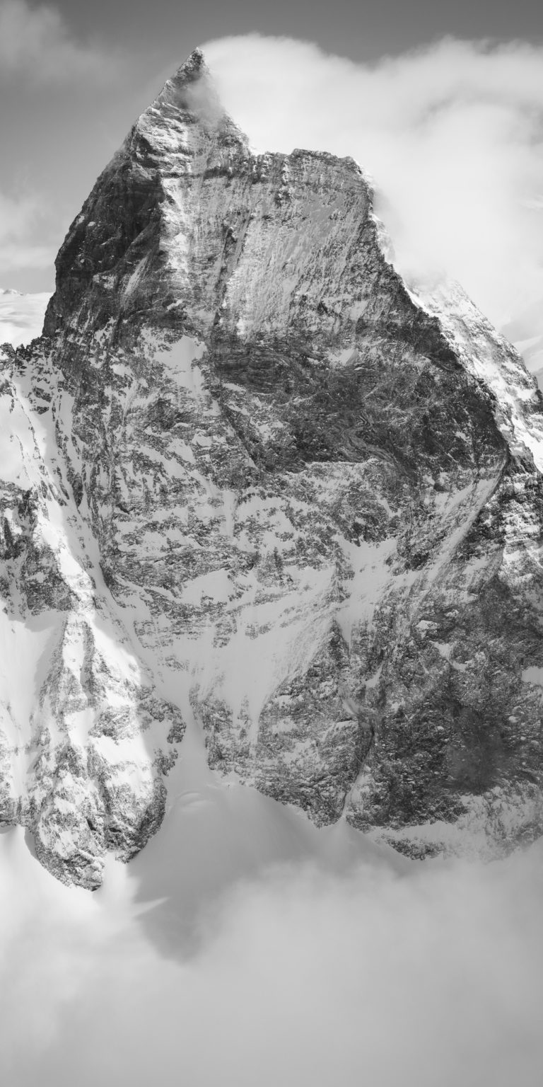 Matterhorn - Poster panoramique de montagne en noir et blanc - Massif montagneux suisse