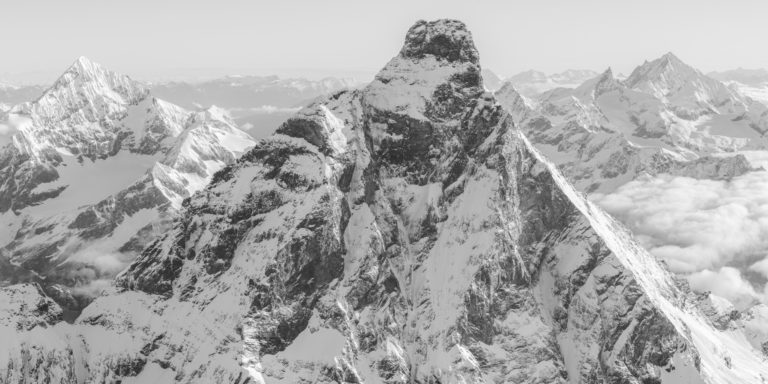 Matterhorn Italy - Mountain panorama black and white of the peaks of Dent Blanche, Obergabelhorn, Zinalrothorn and Weisshorn