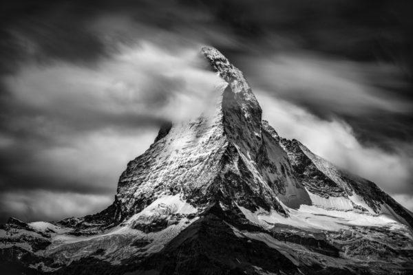Cervin - Photo image Mont Cervin noir et blanc - Matterhorn - Frozen peak