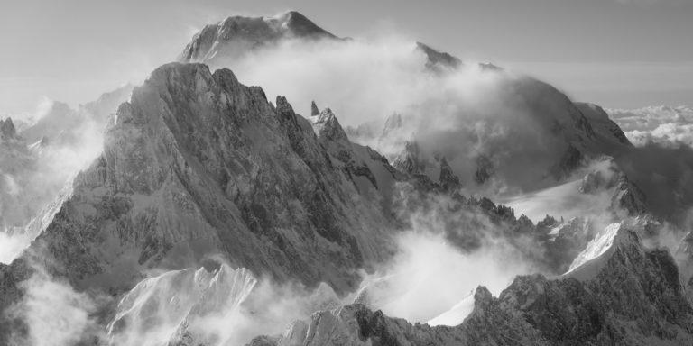 photo noir et blanc du mont blanc - Poster panoramique image mont blanc