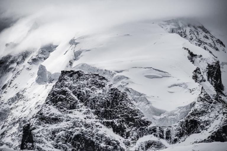 Nordend - Photo noir et blanc du mont Rose - Massif Monte Rosa en neige