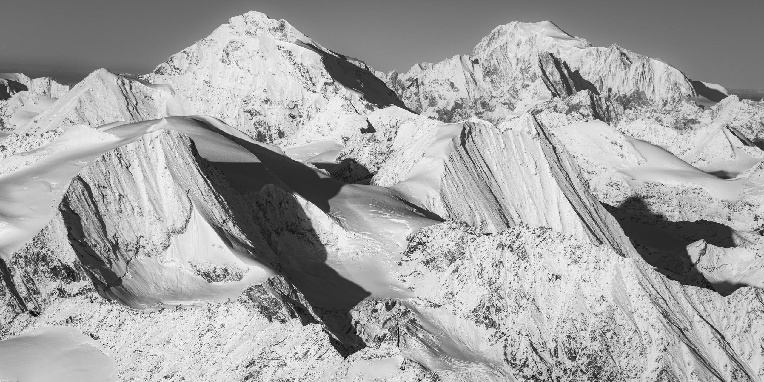 Panorama Mont Blanc et montagne suisse - sommet montagne du va ld'Hérens- Verbier - les Combins - Massif du Mont-Blanc- Image paysage montagne neige