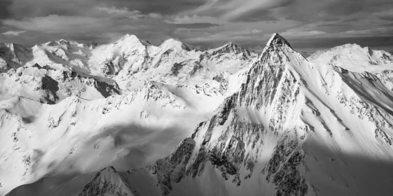 Engadine photo - Image noir et blanc Alpes - Piz Languard - massif Bernina