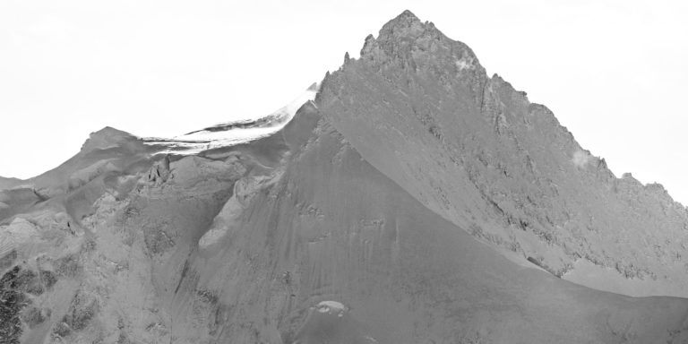 Black and white panoramic view of Zinalrothorn Crans Montana mountain peak in the Valais Alps of Switzerland