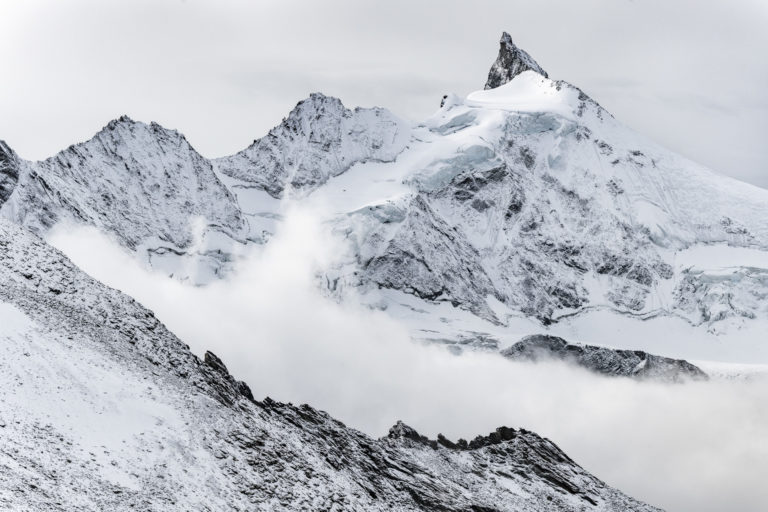 First snow on the Zinalrothorn - mountain landscape picture  created by a high alpine photographer