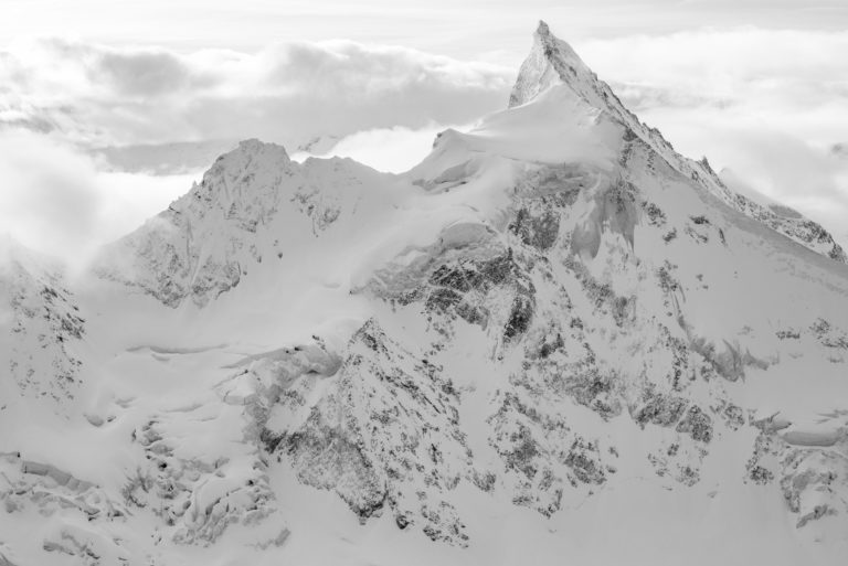 Zinalrothorn - Swiss alpine mountains - Black and white landscape and mountains photo in Switzerland