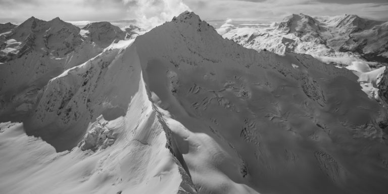 Zinalrothorn - black and white<b> </b>Aerial view at summit pick of the Crans Montana Mountain