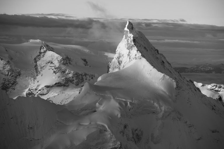 Zinalrothorn - View of the Val d'Anniviers in black and white - Zermatt Valley in Valais - Swiss Alps summits - Matterhorn