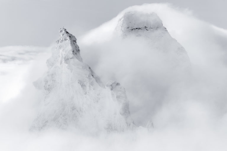 photo Matterhorn Zermatt - frame black and white mountain photo - summits of the mountains Alps in the mist